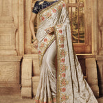 Grey Satin Silk Embroidered Indian Wedding Saree