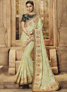 Light Pista Green Satin Silk Embroidered Wedding Saree Online Purchase