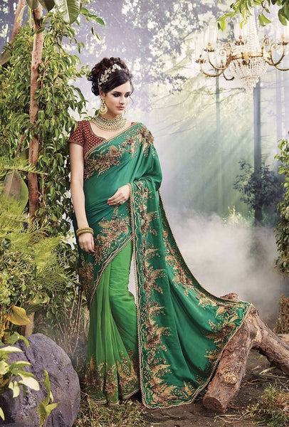 Buy Designer Party Wear Sarees Online In Embroidered Green Color