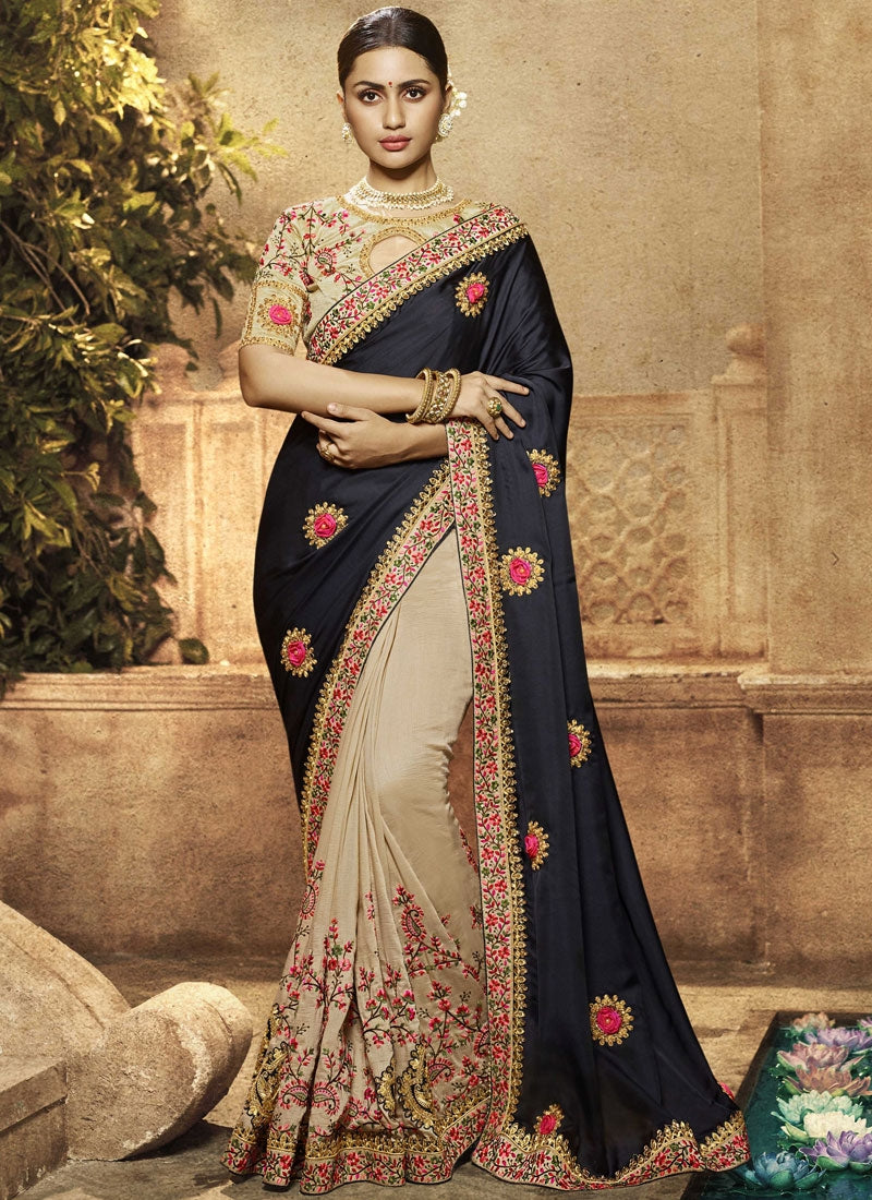 Black And Beige Half N Half Embroidered Wedding Saree Online Shopping