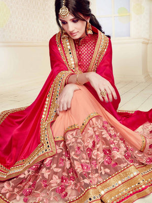 Hot Pink And Peach New Designer Sarees Images With Price