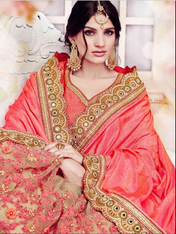 Peach And Beige Beautiful New Saree Designs With Price