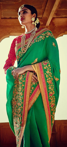Beautiful Green Designer Sarees For Wedding Online