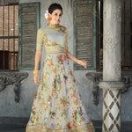 Grey Floral Print Organza Silk New Wedding Lehenga Choli Online Shopping