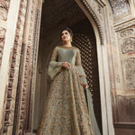 Sage Green Net Embroidered Indian Party Wear Latest Designer Suits For Ladies