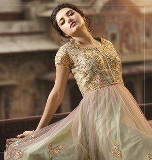 Light Peach Pista Embroidered Anarkali Gown Wedding Wear Online
