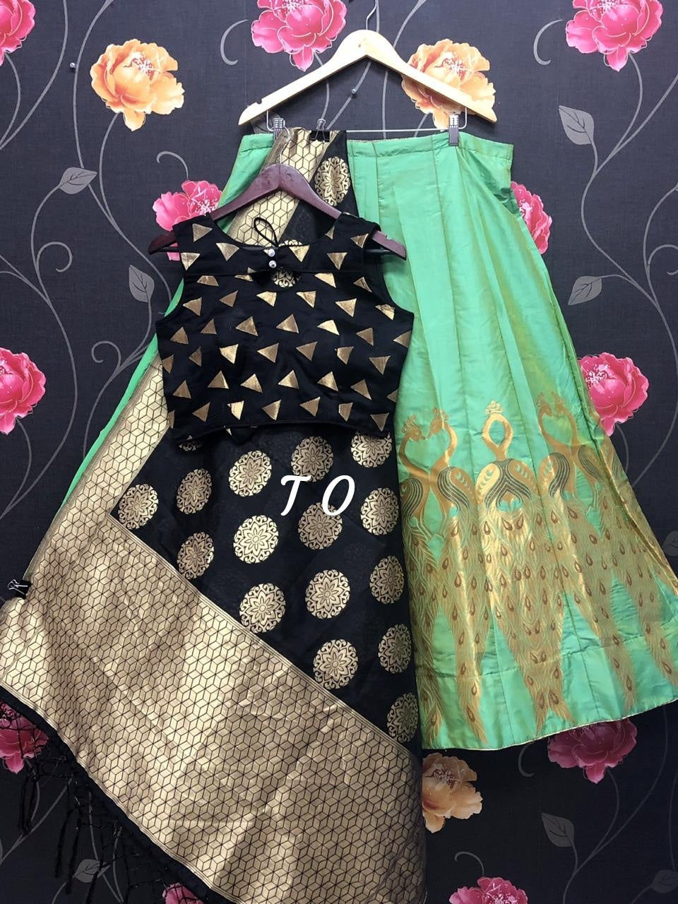 Green Banarasi Brocade Silk Lehenga Yellow with Black Stylish Choli