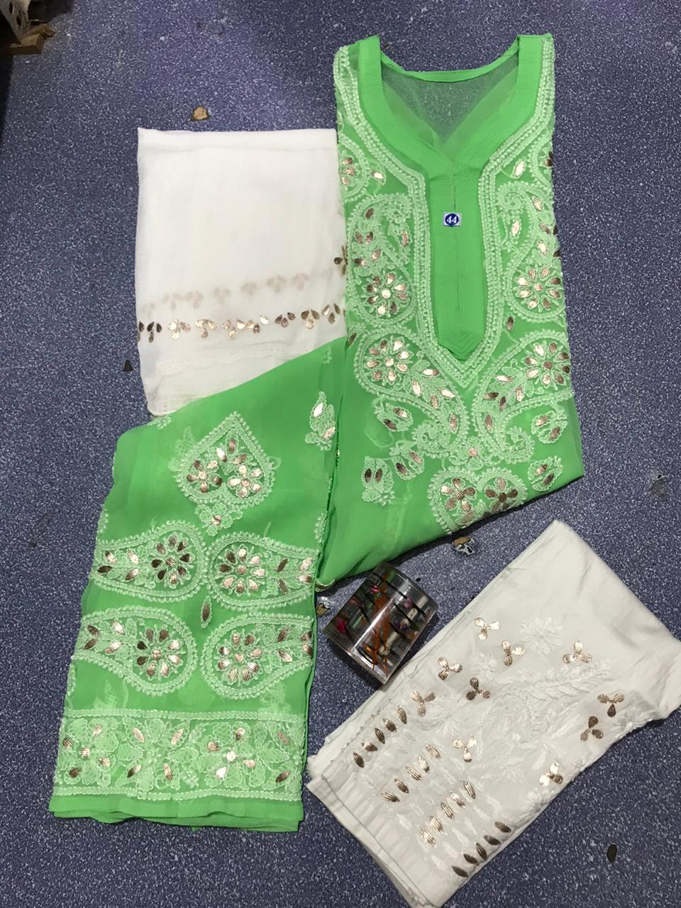 Light Green Chikankari Kurti 3 pc set Georgette Gota patti Combo