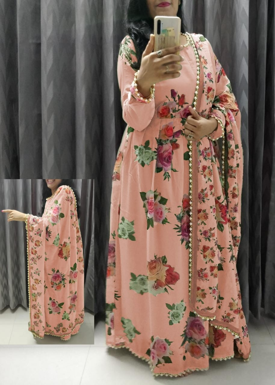 Peach Georgette Floral Print Gown Style Indian Dress Churidar Designs
