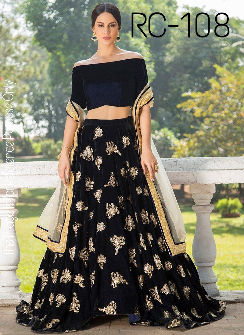 Navy Blue Micro Velvet Choli Design For Party Lehenga Online