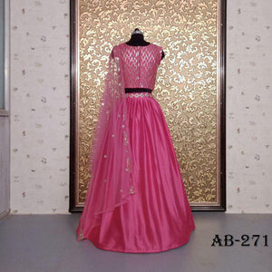 Lovely Pink Satin Simple Lehenga Choli Designs With Price