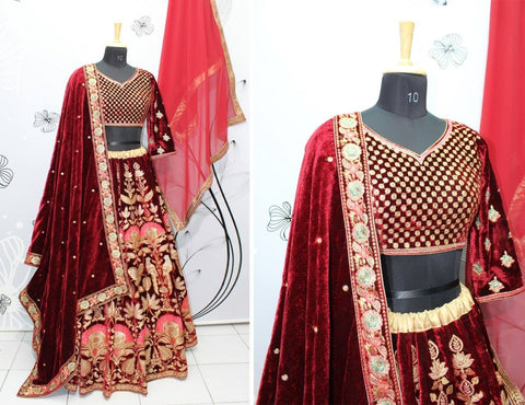 Maroon Embroidered Velvet Lehenga Choli Designs For Wedding With Price