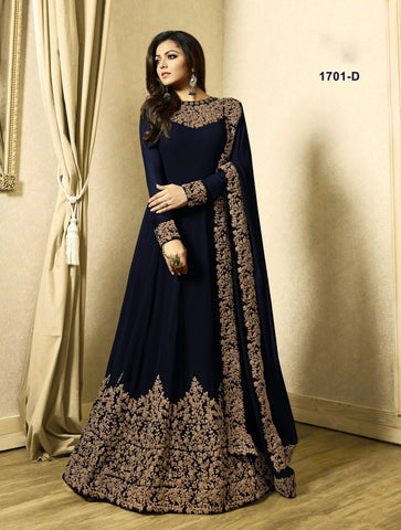 Navy Blue Floor Length Latest Churidar Anarkali Suits Online