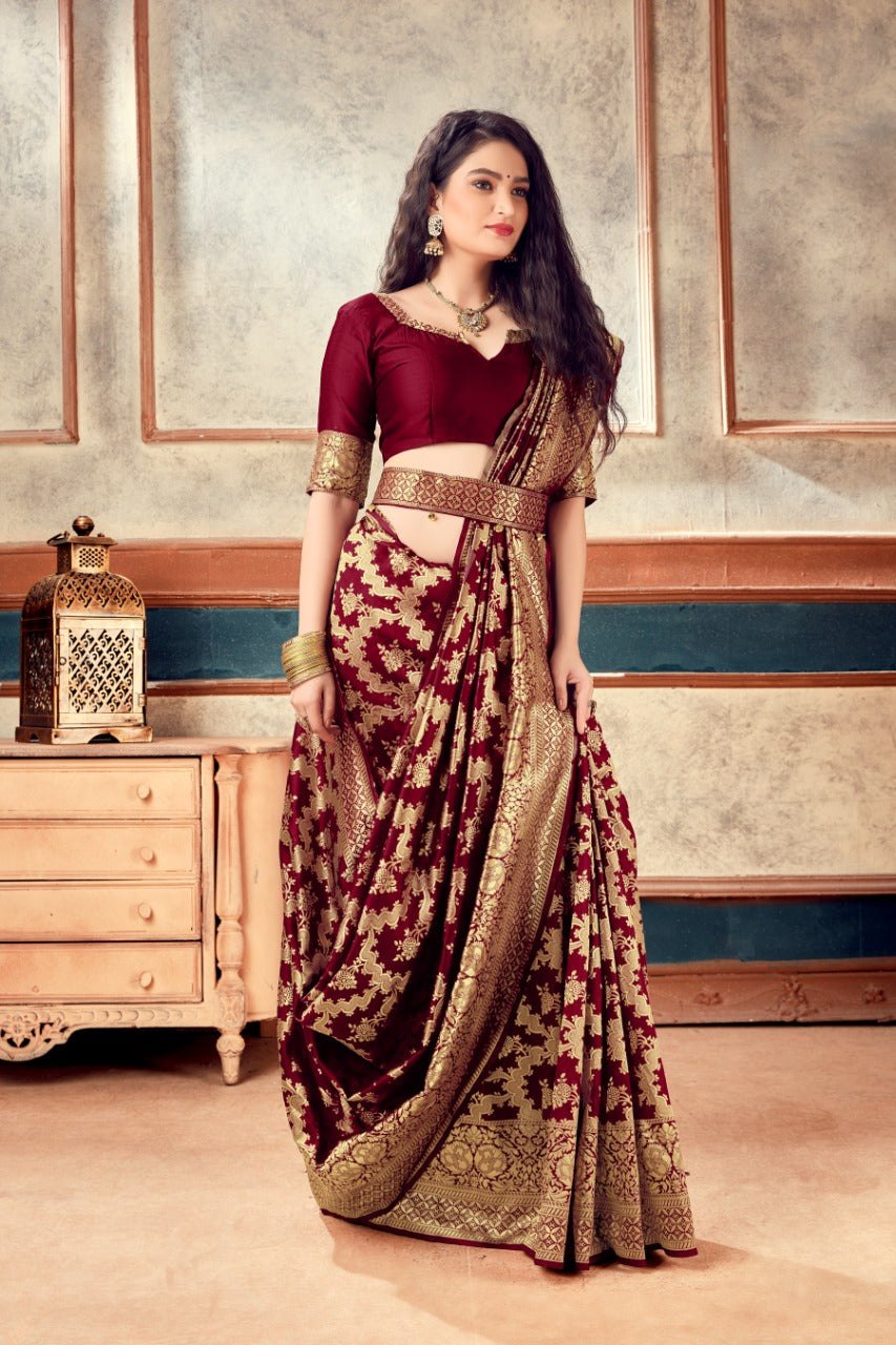 Maroon Banarasi Silk Butti Weaves with Heavy Border Saree With Price