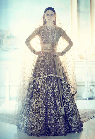 Stunning Mocha Brown Latest Wedding Lehenga Choli