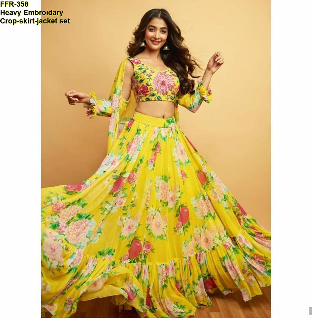 Yellow Floral Printed Georgette Crop Top Lehenga Dress Online Shopping