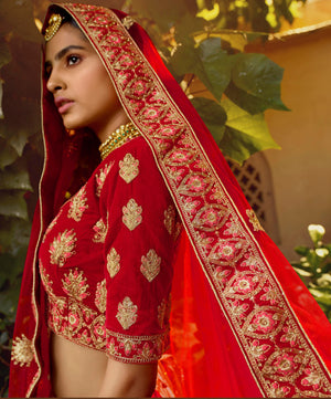 Red Velvet Embroidered Bridal Wedding Lehenga Choli