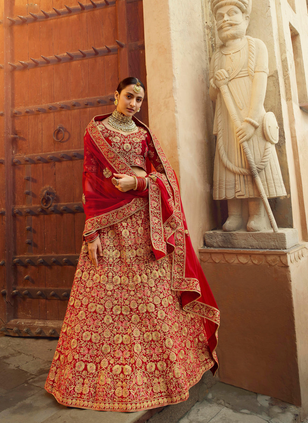 Red Velvet Embroidered Bridal Indian Wedding Lehenga Choli