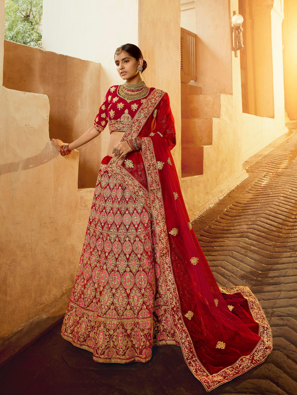 Red Velvet Embroidered Bridal Ghagra Choli Online
