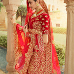 Red Velvet Embroidered Indian Bridal Ghagra Choli Design Online