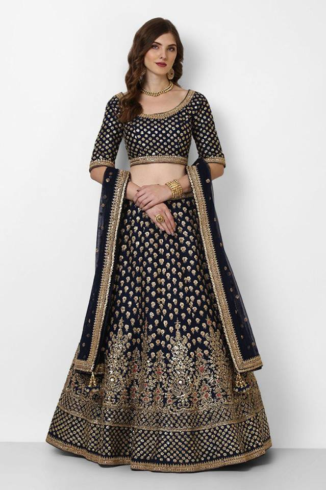 Navy Blue Embroidery Silk Latest Fashion  Lehenga Choli Online