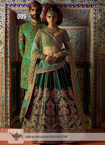 Teal Taffeta Silk Embroidery Beautiful New Indian Lehenga Designs