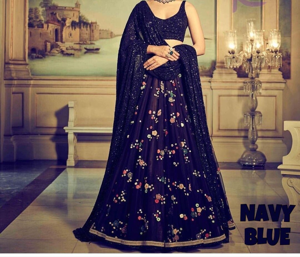 Navy Blue Net Floral Print Lehenga And Choli Designs Indianfashion
