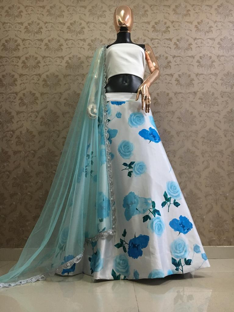 White And Blue Beautiful Printed Party Lehenga Blouse Designs