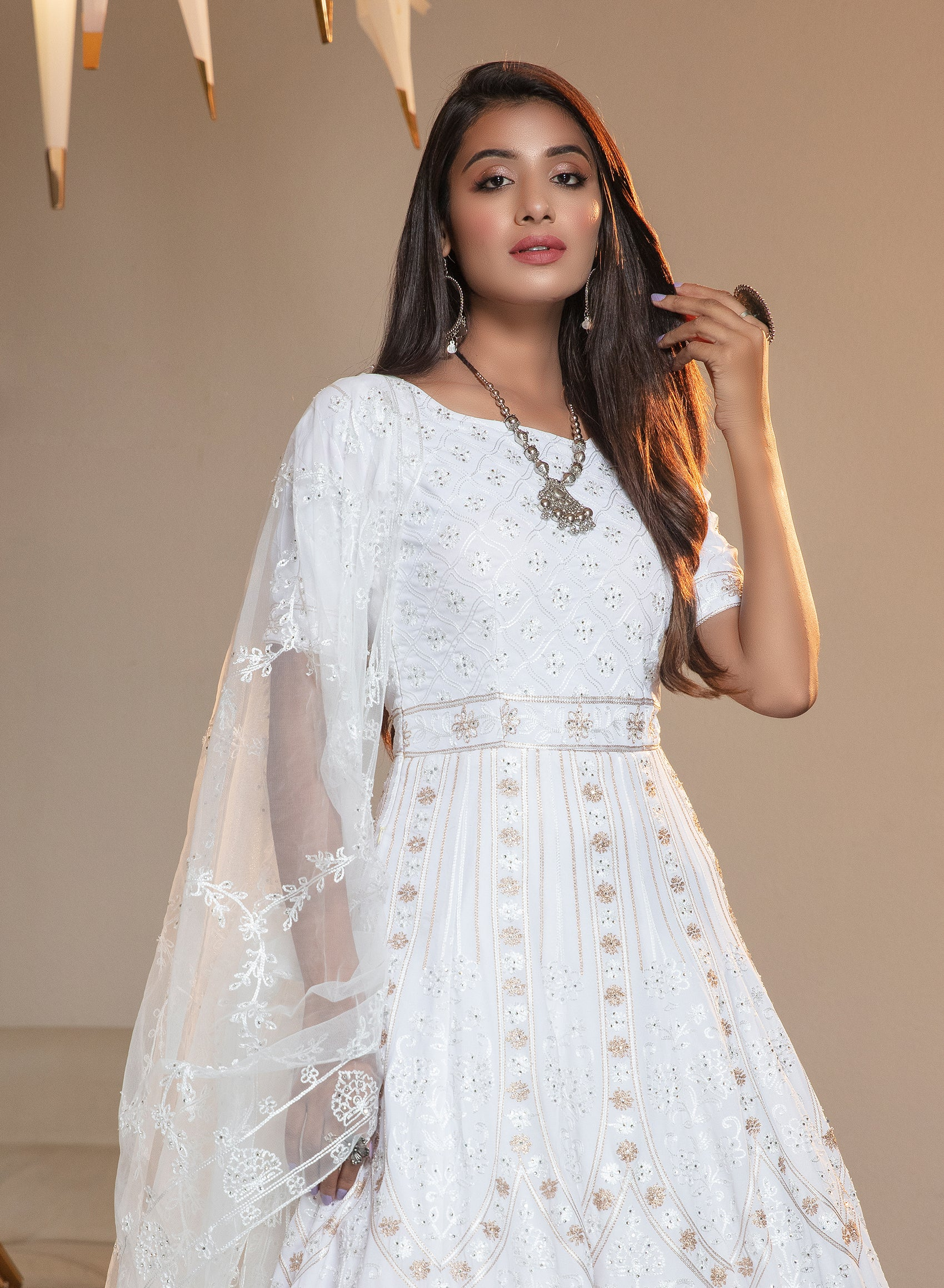White Georgette Embroidered Anarkali Buy Ladies Suits Online