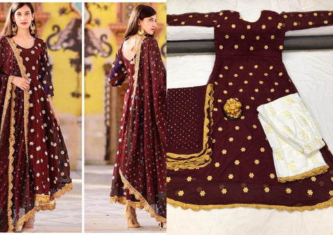 Maroon Georgette Kurti Palazzo Sets At Indiandresses.co