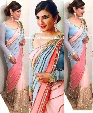 Pink Blue And Peach Bollywood Latest  Saree Online Shopping