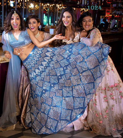 Blue Digital Print Banglori Satin New Indian Lehenga Choli Online Shopping
