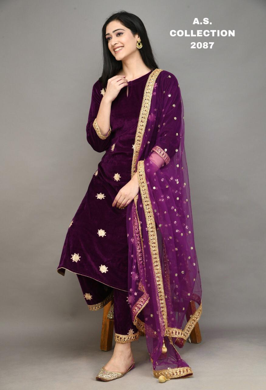 Wine Color Gota Patti Embroidered Velvet Kurti Palazzo Dresses Online
