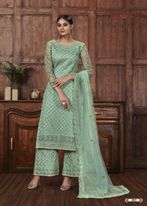Sea Green Net Embroidered Indian Palazzo Salwar Suits Online Shopping