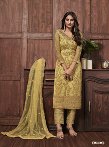 Mustard Net Embroidered Pant Style Ladies Salwar Suits