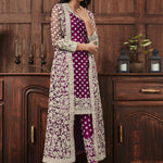 Wine Color Net Embroidered Pant Style Salwar Kameez Dresses
