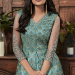 Dusty Green Net Embroidered Front Slit Pakistani Salwar Kameez Online