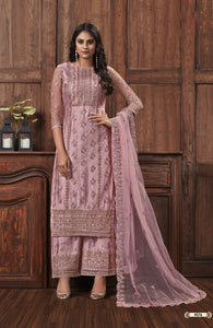 Misty Rose Net Embroidered Palazzo Style Ladies Suit Online Shopping