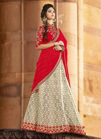 Off White Jacquard Silk Best Lehenga Designs Online ,Indian Dresses - 1