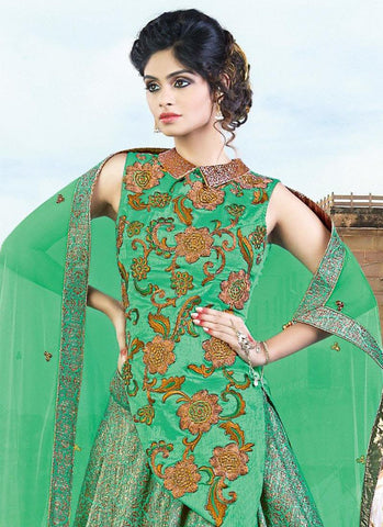 Fern Green Jacquard Silk Designer Lehengas Online Shopping ,Indian Dresses - 2