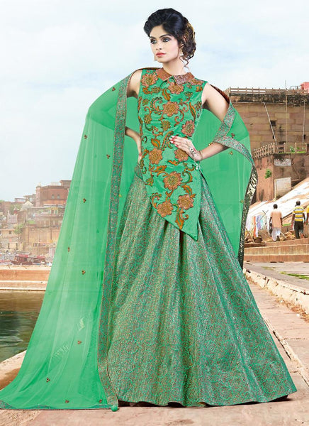 Fern Green Jacquard Silk Designer Lehengas Online Shopping ,Indian Dresses - 1