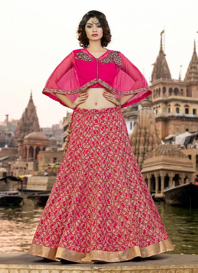 Hot Pink Embroidered Lehenga Choli With Capelet ,Indian Dresses - 1