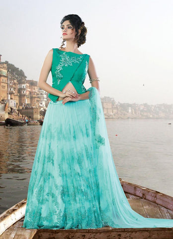 Ultra-Modern Soft Blue Net Designer Lehengas Buy Online ,Indian Dresses - 1