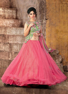 Fuss-Free Pink Net Designer Lehenga Choli Online Shopping ,Indian Dresses - 1
