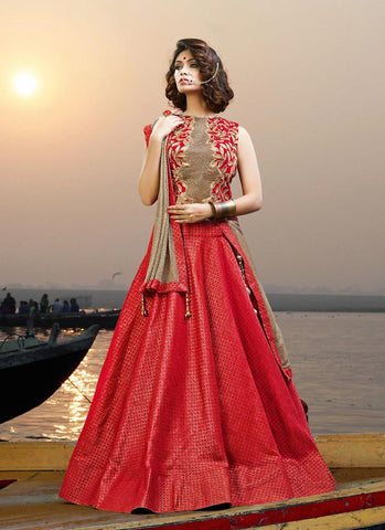 Graceful Red Jacquard Silk Buy Designer Lehengas Online ,Indian Dresses - 1