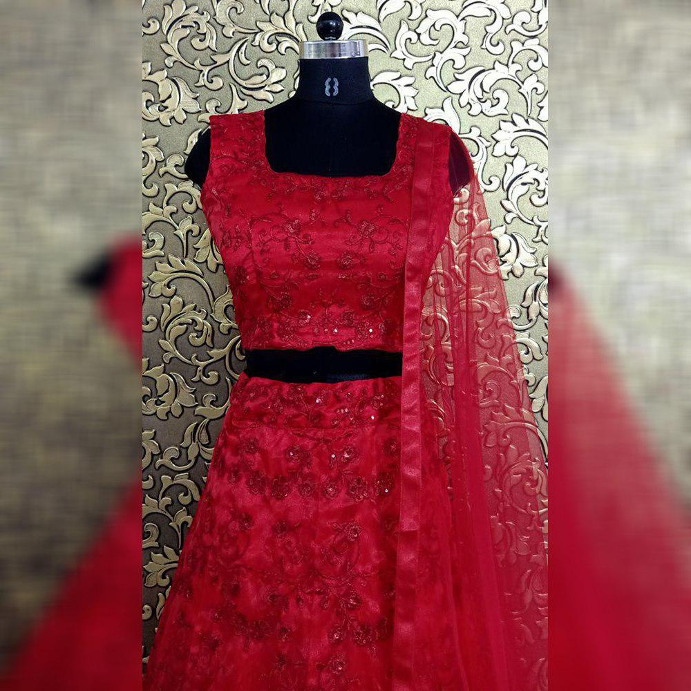 Sara Red Embellished Bollywood Lehenga Choli Online Shopping