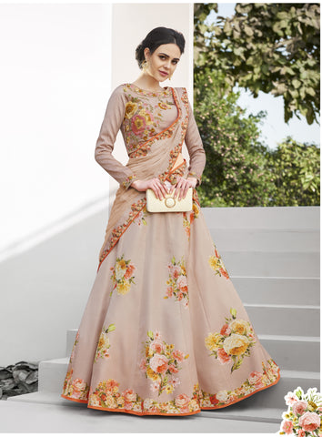 Beige Floral Print Silk Marriage Wear Lehenga Choli India Online