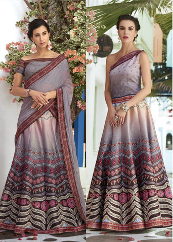 Lilac Ombre Digital Printed Latest Party Wear Lehenga Designs