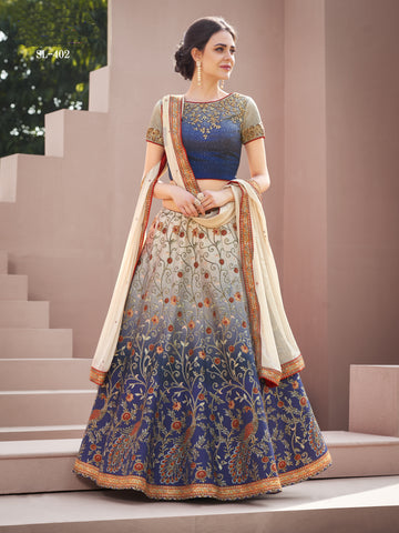 Grey And Blue Ombre Silk Embroidery Latest Lehenga Blouse Online