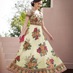 White Digital Floral Print Embroidered Party Lehenga Cholis